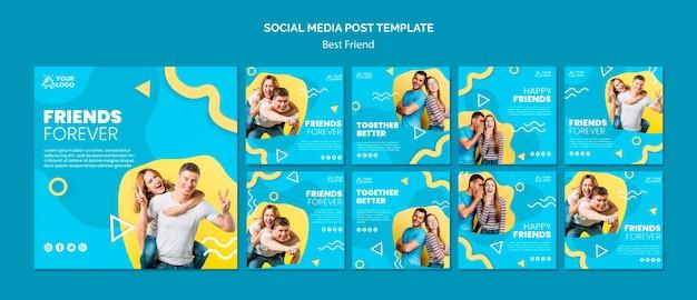 Cartel de mejores amigos publicación en redes sociales