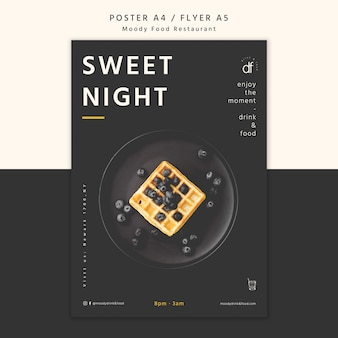 Cartel del menú del restaurante sweet night