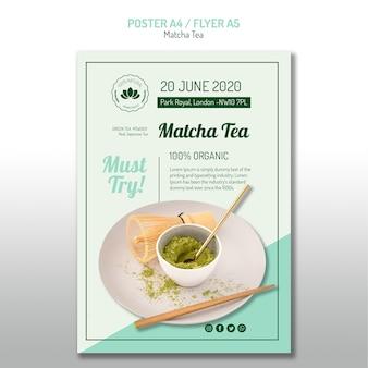 Cartel minimalista de té matcha
