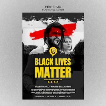 Cartel minimalista de la vida de las vidas negras con foto
