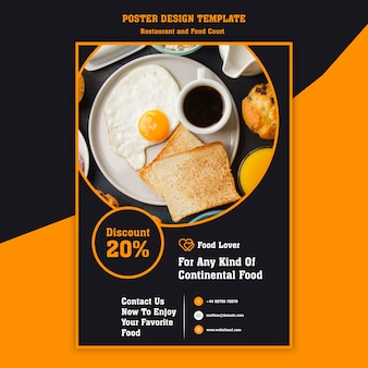 Cartel moderno para restaurante de desayuno.