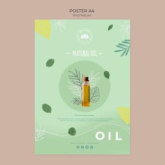 Cartel de naturaleza salvaje de aceite natural