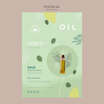 Cartel de naturaleza salvaje con aceite natural