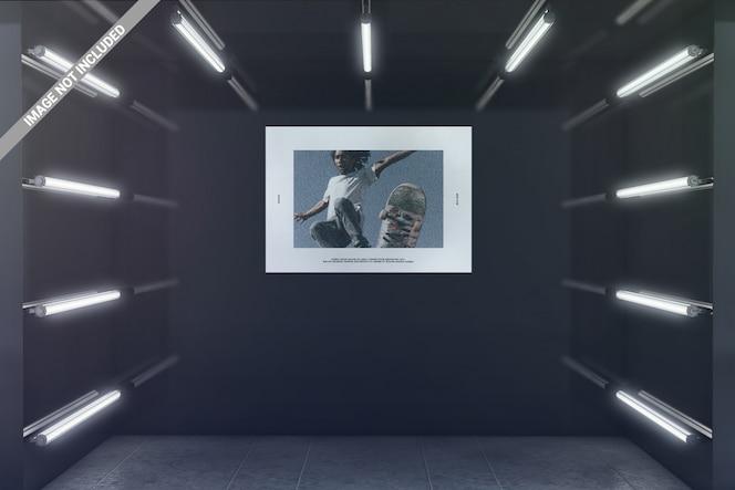 Cartel de paisaje en maqueta de sala de exposición brillante