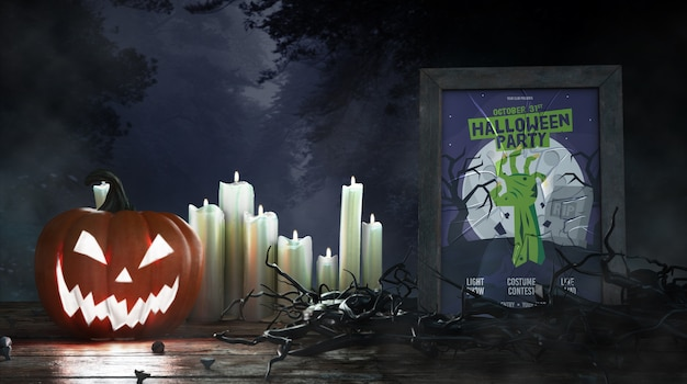Cartel de la película de terror con velas y calabaza.