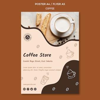 Cartel de plantilla de anuncio de cafetería