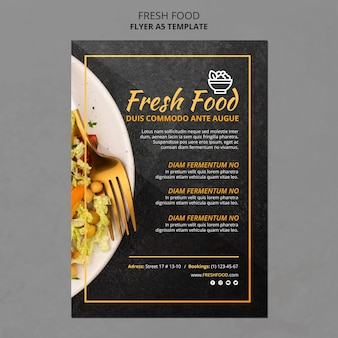Cartel de plantilla de anuncio de comida fresca