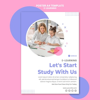Cartel de plantilla de anuncio de e-learning