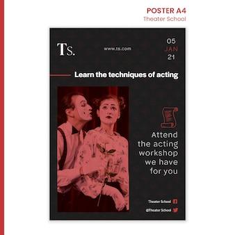 Cartel de plantilla de anuncio de escuela de teatro
