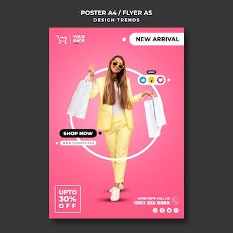 Cartel de plantilla de anuncio de mujer de compras
