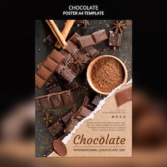 Cartel de plantilla de anuncio de tienda de chocolate