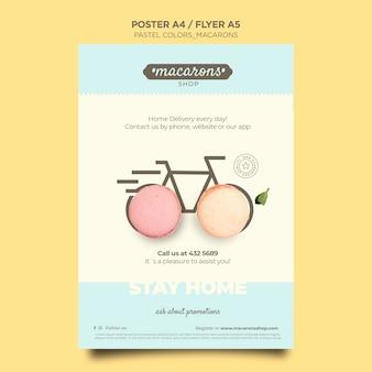 Cartel de plantilla de anuncio de tienda de macarons