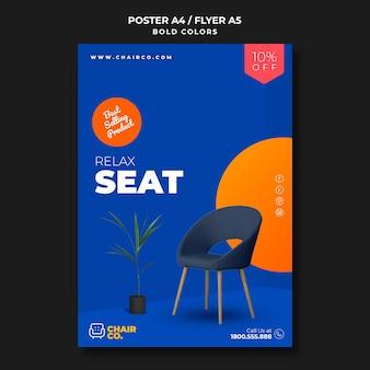Cartel de plantilla de anuncio de tienda de muebles
