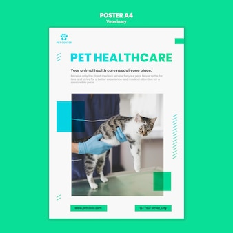 Cartel de plantilla de anuncio veterinario