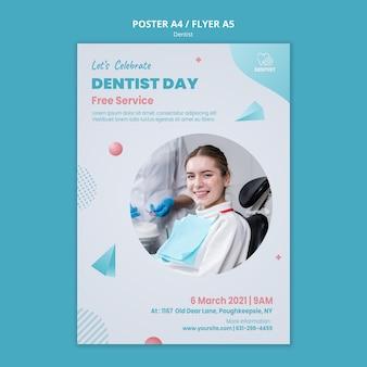 Cartel de plantilla de clínica de dentista