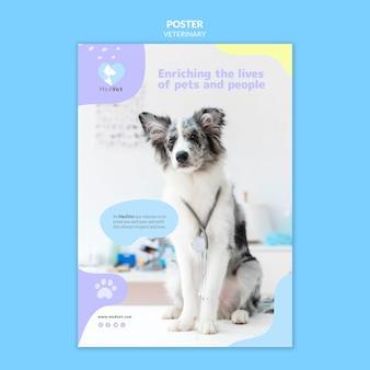 Cartel de plantilla de clínica veterinaria