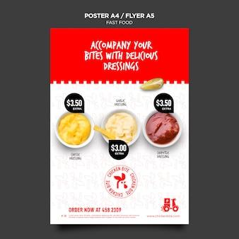 Cartel de plantilla de comida rápida