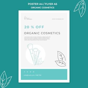 Cartel de plantilla de cosméticos orgánicos