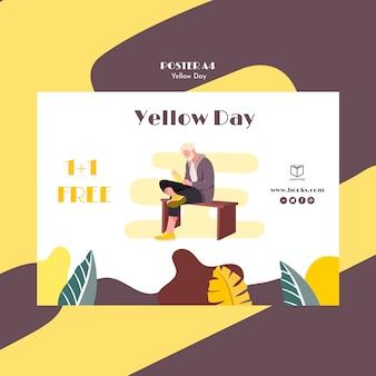 Cartel con plantilla de día amarillo