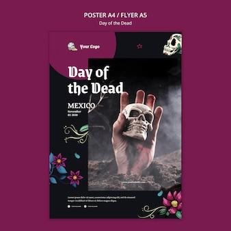 Cartel de plantilla del día de muertos