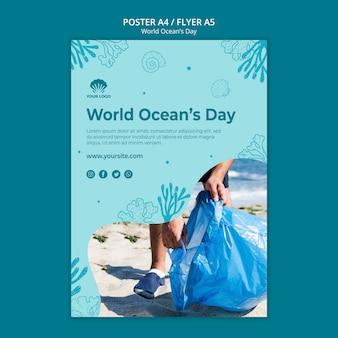 Cartel de plantilla del día mundial del océano