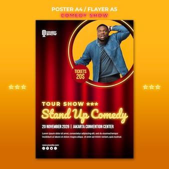 Cartel de plantilla de espectáculo de comedia