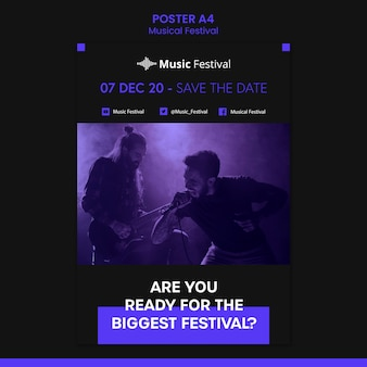 Cartel de plantilla de festival de música