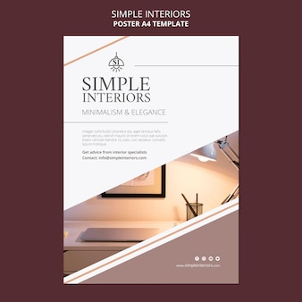 Cartel de plantilla de interiores simples