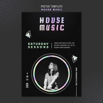 Cartel de plantilla de música house