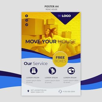 Cartel de plantilla de negocio de mover casa