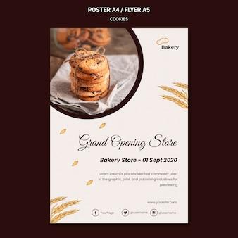 Cartel de plantilla de tienda de galletas
