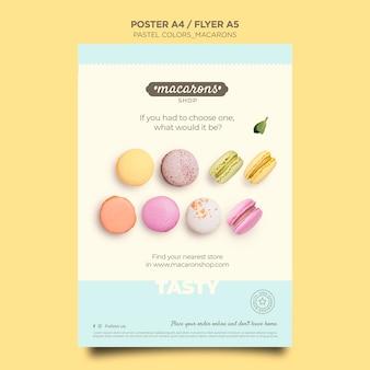 Cartel de plantilla de tienda de macarons