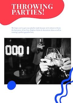 Cartel publicitario psd de plantilla de marketing de eventos de fiesta para organizadores