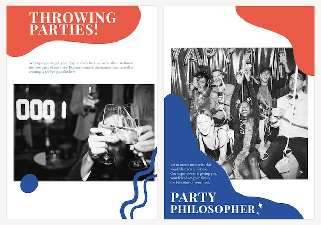 Cartel publicitario psd de plantilla de marketing de fiesta moderno para organizadores conjunto doble