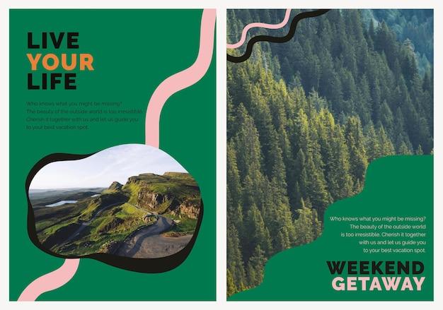 Cartel publicitario psd de plantilla de marketing de montaña de viajes para agencias conjunto dual