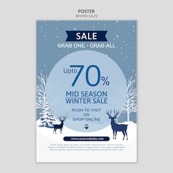 Cartel de rebajas de invierno con renos
