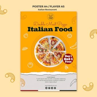 Cartel de restaurante italiano con oferta