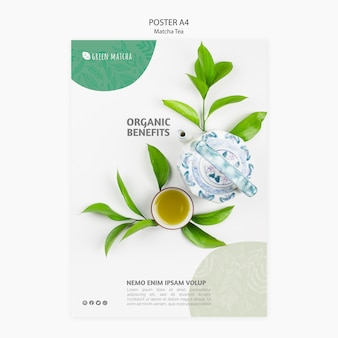 Cartel saludable de té matcha