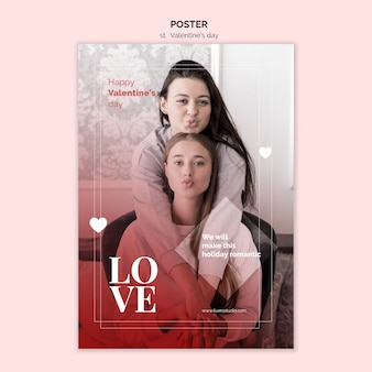 Cartel de san valentín con pareja femenina