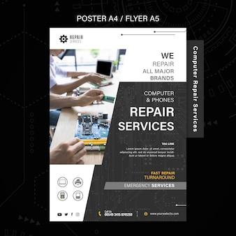 Cartel de servicios de reparación de computadoras y teléfonos.