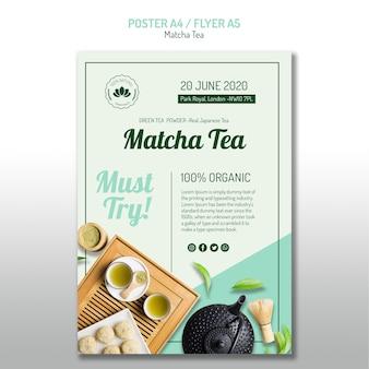 Cartel de té matcha saludable