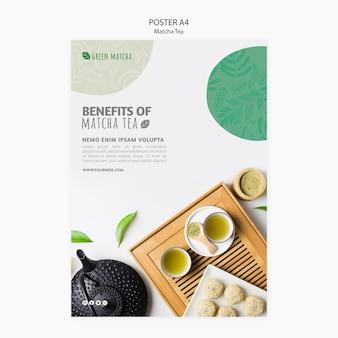Cartel de té orgánico matcha