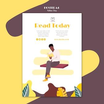 Cartel con tema del día amarillo