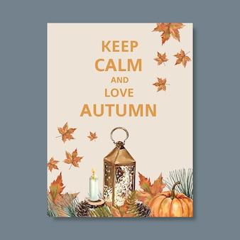 Cartel temático de otoño con plantilla de follaje vibrante