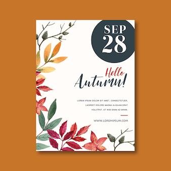 Cartel temático de otoño con plantilla de hojas vibrantes