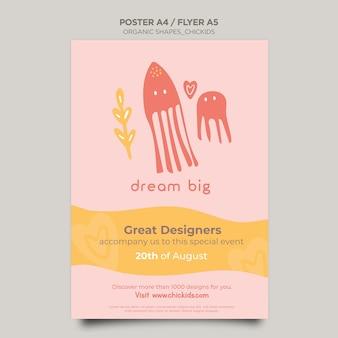 Cartel para tienda de decoración de interiores para niños.