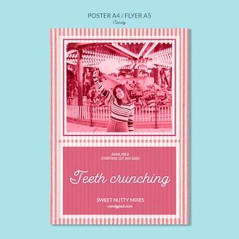 Cartel de tienda de dulces crujientes de dientes