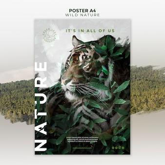 Cartel de tigre y hojas de naturaleza salvaje