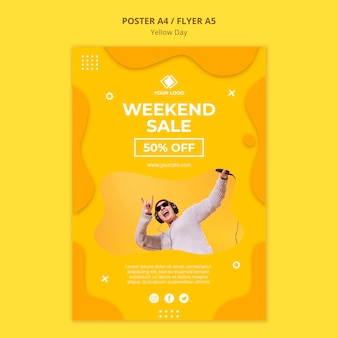 Cartel de venta de fin de semana del día amarillo