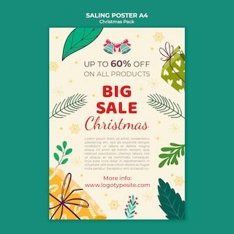 Cartel de venta de navidad con descuentos